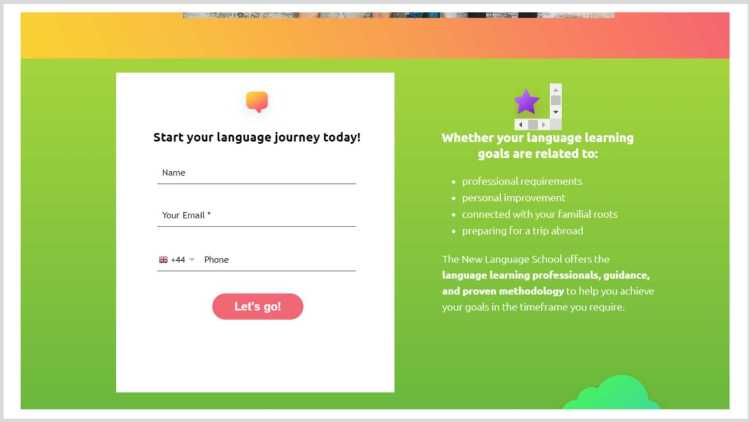 Example of a lead-capture landing page.