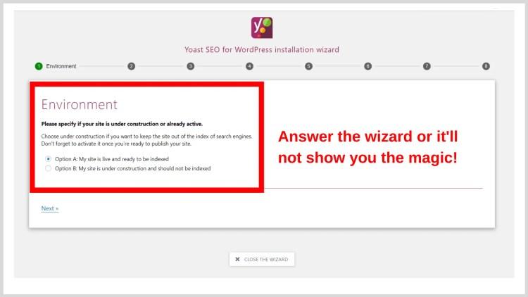 Yoast SEO's wizard.
