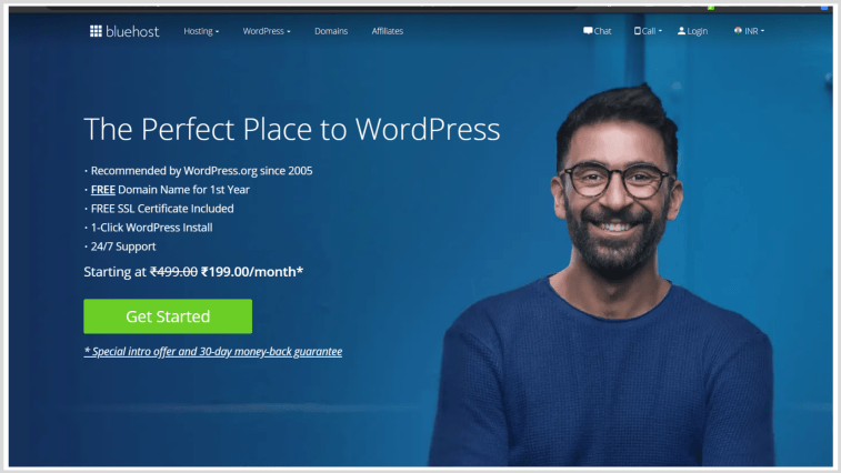 Bluehost India Review - the homepage of Bluehost.in or Bluehost India.