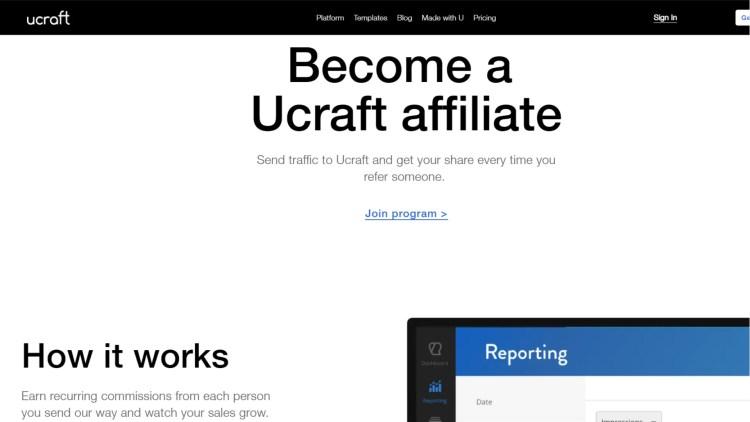 Website builder affiliate programs: Ucraft