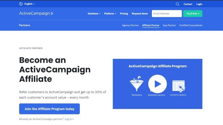 ActiveCampaign email marketing affiliate program