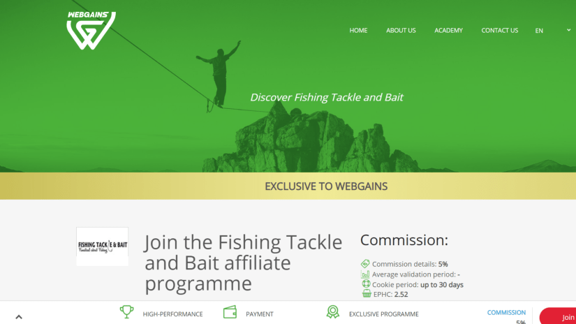 Fishing Tackle and Bait Affiliate Program