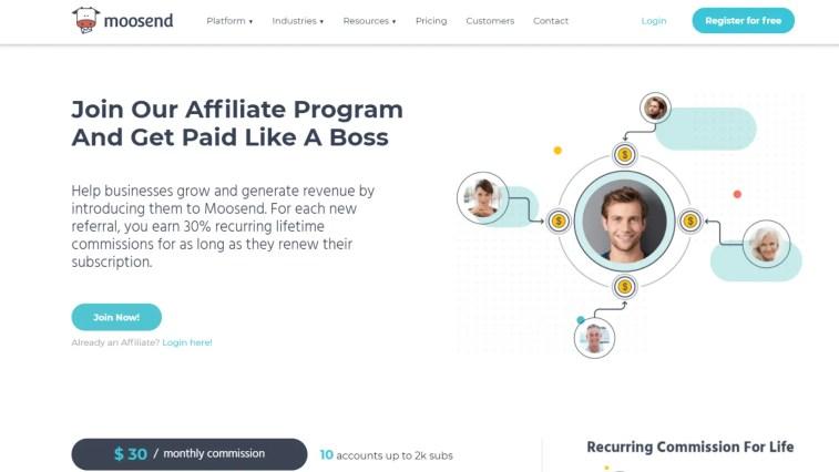 Moosend affiliate program: Automation