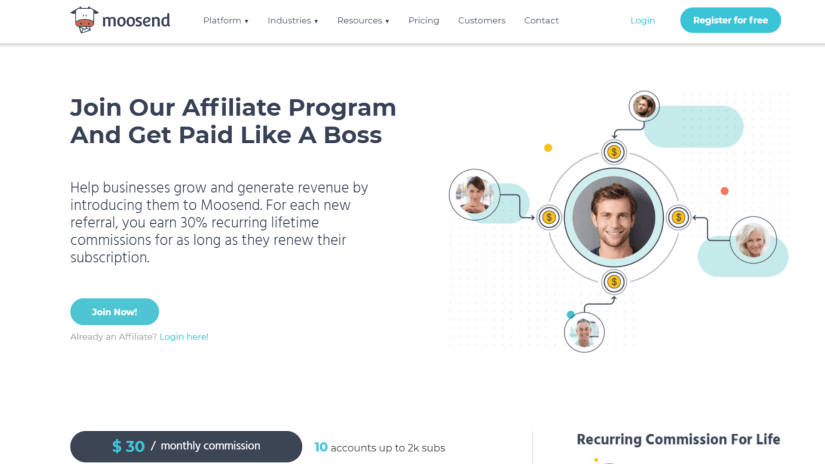 Moosend affiliate program: Automation
