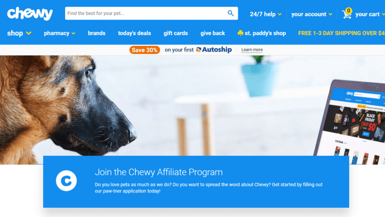 Best Dog Affiliate Programs: Chewy
