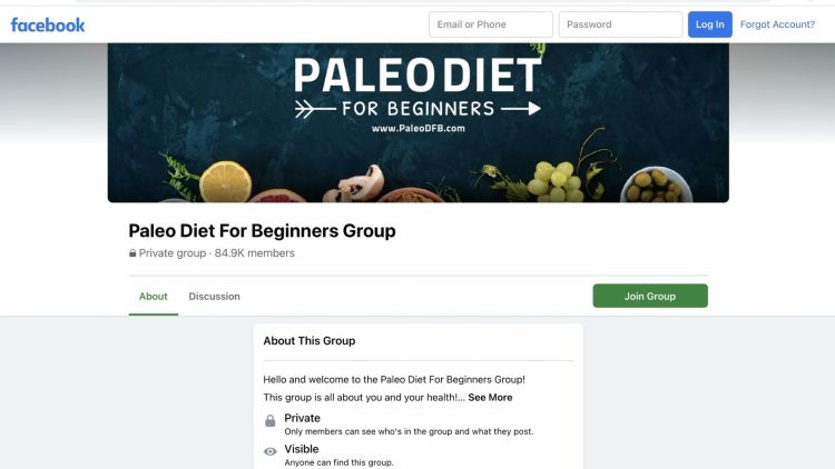 FB group example about Paleo diet
