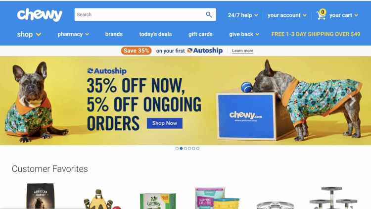 Chewy.com official website: Hompage