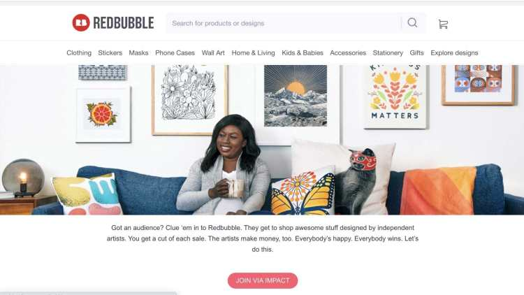 Redbubble affiliate signup page