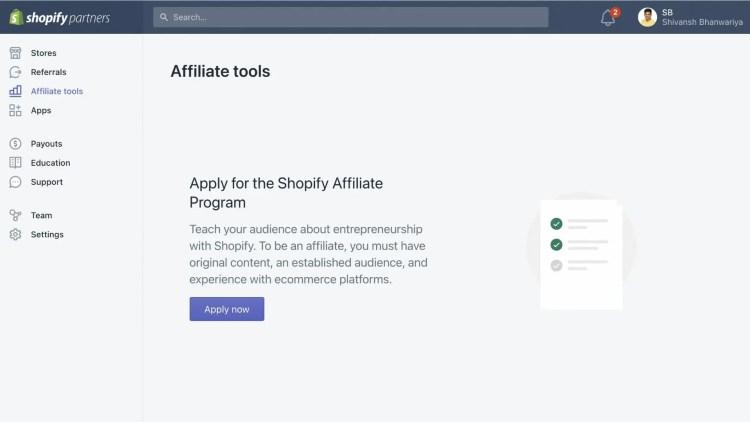 Apply for Shopify affiliate program