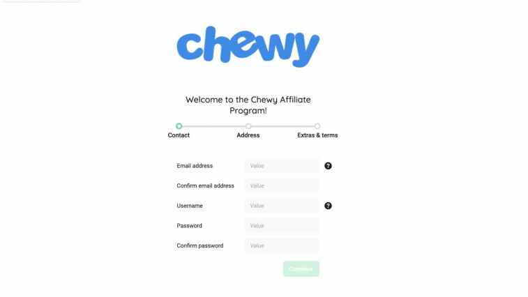 Signup for the Chewy affiliate program via Partnerize