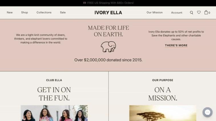 Ivory Ella affiliate program (charity affiliate program)