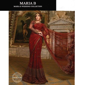 Maria b Mbroidered Wedding Eddition Saree Replica