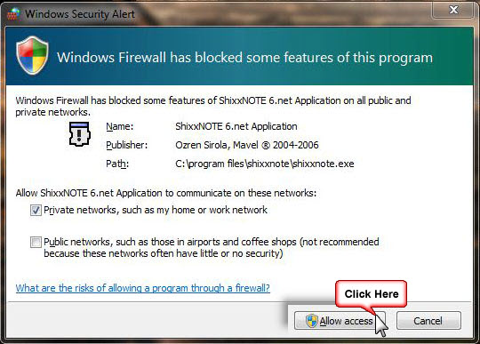 Windows Firewall and ShixxNOTE (1/3)