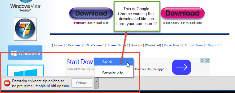 Google Chrome warning on download page (2/2)