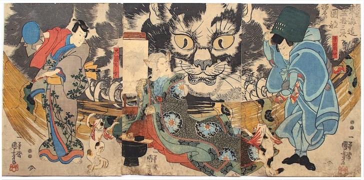 歌川国芳『東海道五十三次 岡部 猫名の由来』