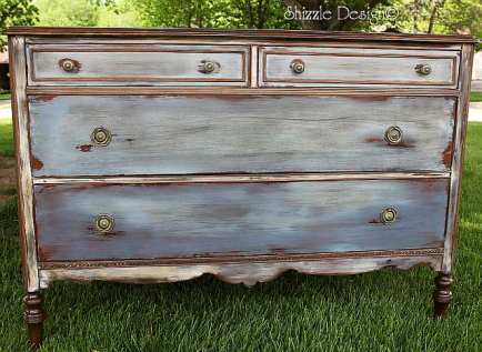 antique dresser hand painted and waxed by Shizzle Design in CeCe Caldwell's Chesapeake Blue, Aging Dust, Dover White, vintage Michigan chalk clay paint front vintage best pictures painted furniture drawer small
