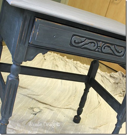 Pittsburgh Gray over Vermont Slate painted on an old oak table dry brushed Shizzle Style paint workshop MSU waxed