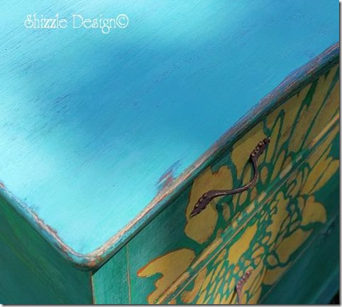 Painted furniture top hand painted dresser by Shizzle Design using American Paint Company Chalk and Clay paints Surfboard, Beach Glass colors 2