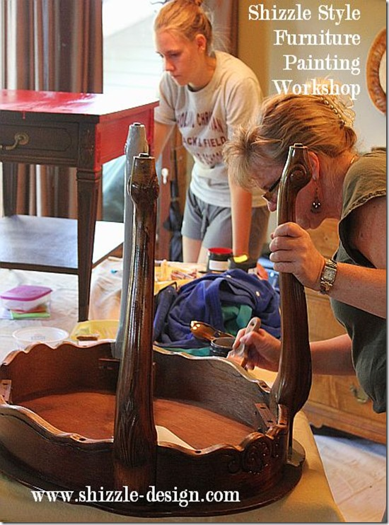 Shizzle Design Furniture Painting Workshop BEFORE Byron Center, michigan CeCe Caldwell's Chalk Clay Paints ideas colors tables chair night stands tips learn how to 5 18 13 7