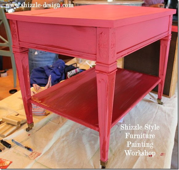 Shizzle Design Furniture Painting Workshop DURING Byron Center, michigan CeCe Caldwell's Chalk Clay Paints ideas colors tables chair night stands tips learn how to 5 18 13 4