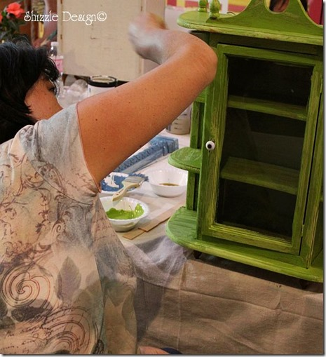 chair painted in cece caldwell's Spring Hill Green at the Paris Flea Market fundraiser in Livermore CA shizzle design