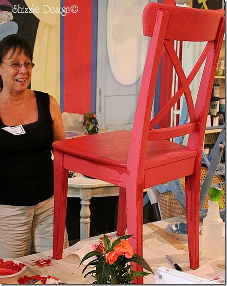 chair painted in cece calwell's traverse city cherry at the Paris Flea Market fundraiser in Livermore CA shizzle design
