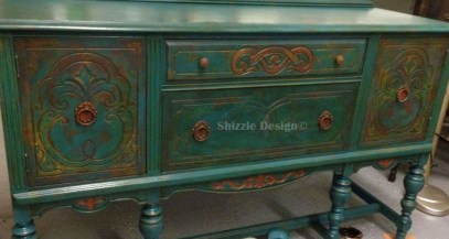 American Paint Company's Peacock hand painted antique buffet Shizzle Design 2018 Chicago Drive Jenison MI  49428 www.shizzle-design.com teal layers 3