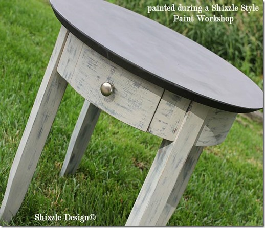 June 15 great side table painted at a Shizzle Style furniture paint shop in Grand Rapids, MI CeCe Caldwell's Vermont Slate, Beckley Coal, Virginia Chestnut, Young Kansas Wheat