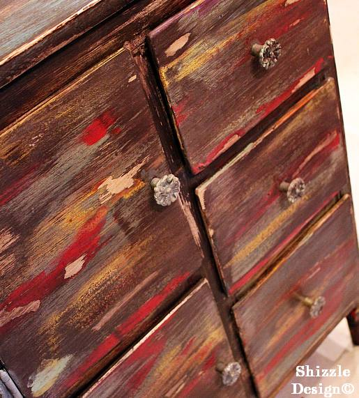 July 9 Shizzle Style Paint Workshop Byron Center, Michigan funky finish wet distress dry brush layering painted cabinet primitive 1