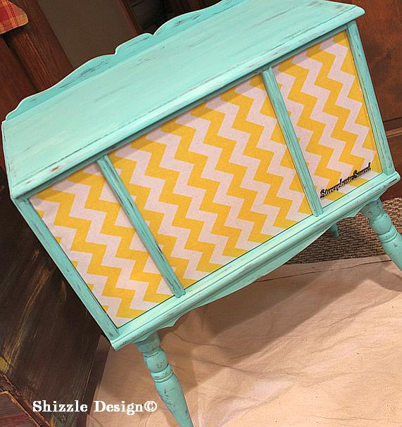 July 9 Shizzle Style Paint Workshop Byron Center, Michigan retro CeCe Caldwell's turqoise chalk clay painted stereo cabinet with Chevron fabric