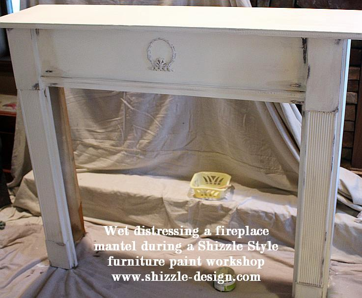 July 9 Shizzle Style Paint Workshop Grand Rapids Michigan wet distressing hand painted fireplace mantel surround white brown CeCe Caldwell's 2 ideas
