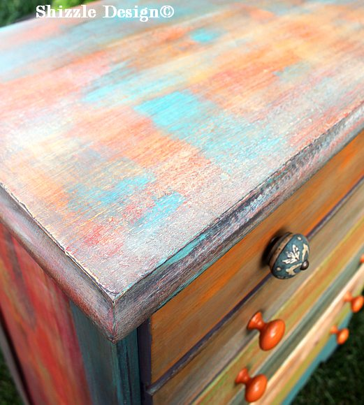 Patchwork #painteddresser Shizzle Design Grand Rapids, Michigan chalk clay paints #paintedfurniture best colors ideas #americanpaintcompany 11
