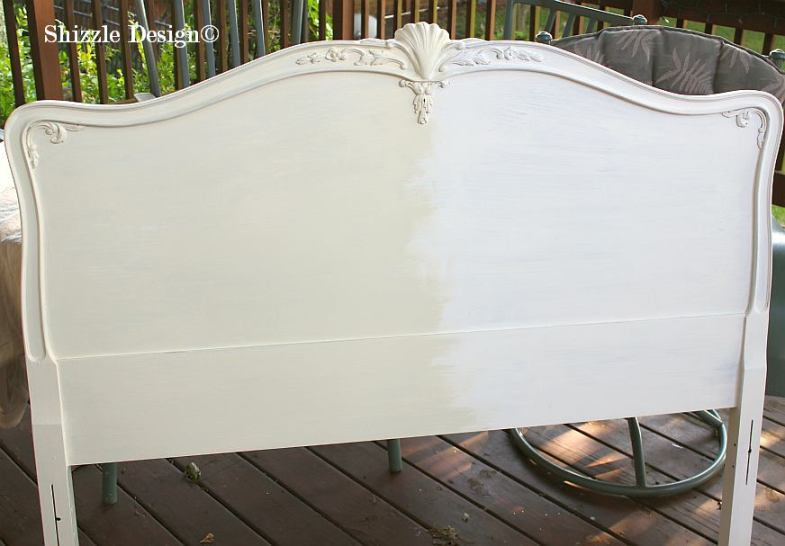 Shizzle Design MI #americanpaintcompany white Home Plate Rushmore Heaven's Light chalk clay paint antique headboard