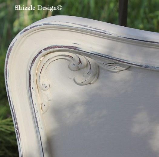Shizzle Design Michigan #americanpaintcompany creamy white Home Plate Rushmore Heaven's Light chalk clay paint bedroom footboard 1
