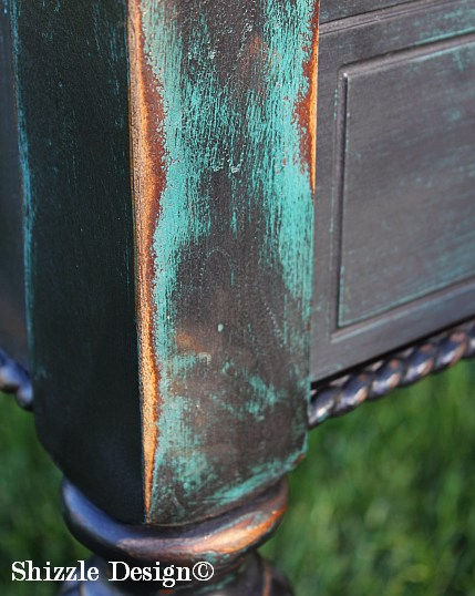 Shizzle Design Painted Furniture Grand Rapids Michigan black teal chalk clay paints console table CeCe Caldwell's Beckley Coal American Paint Company's Dark Antiquing Wax 2