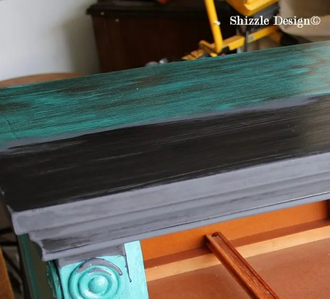 Shizzle Design Painted Furniture Grand Rapids Michigan black teal chalk clay paints console table CeCe Caldwell's Beckley Coal American Paint Company's Dark Antiquing Wax 6