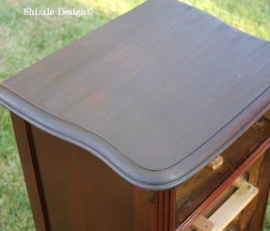 staining the top of an end table Shizzle Design painted furniture nightstan Mahogany