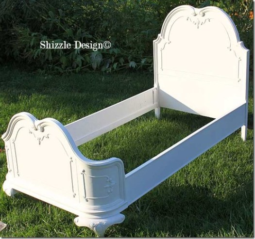 Antique hand painted princess twin bed beautiful sculpted headboard Shizzle Design American Paint Company chalk clay paint ideas Navajo White 5