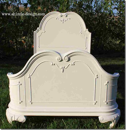 Antique hand painted princess twin bed beautiful sculpted headboard Shizzle Design American Paint Company chalk clay paint ideas Navajo White