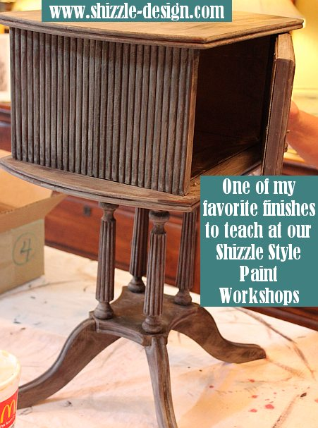 October Workshops #shizzledesign furniture paint chalk clay best Grand Rapids MI how to #cececaldwells #americanpaintcompany Pittsburgh Gray Virginia Chestnut brown Shizzle layering
