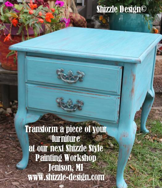 October Workshops #shizzledesign furniture paint chalk clay best Grand Rapids MI how to table #cececaldwells #americanpaintcompany Santa Fe Turquoise table 3
