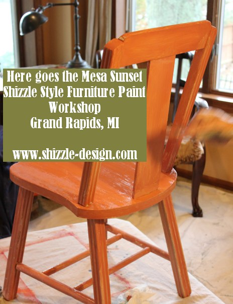 October Workshops #shizzledesign furniture paint workshops chalk clay best Grand Rapids MI how to table #cececaldwells #americanpaintcompany Mesa Sunset chair during
