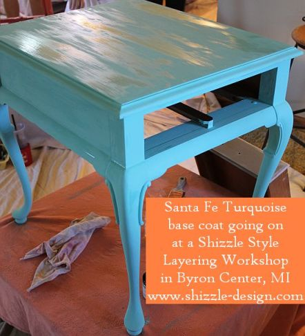 October Workshops #shizzledesign furniture paint workshops chalk clay best Grand Rapids MI how to table #cececaldwells #americanpaintcompany Santa Fe Turquoise table 1