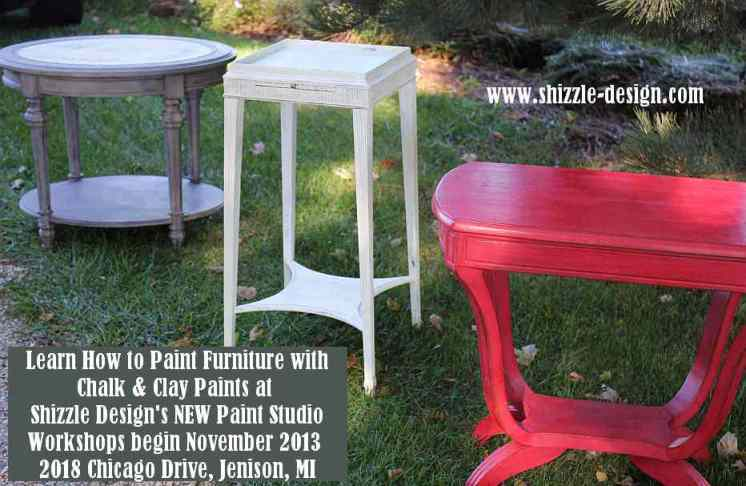 October #shizzledesign furniture paint workshops chalk clay best Grand Rapids MI how #cececaldwells #americanpaintcompany red black white tables 3
