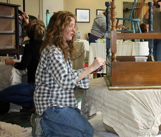 Shizzle Design Furniture Painting Workshop taught at Michigan State University CeCe Caldwell's Chalk Clay Paints ideas colors tables bench end tables tips MSU learn how to 15