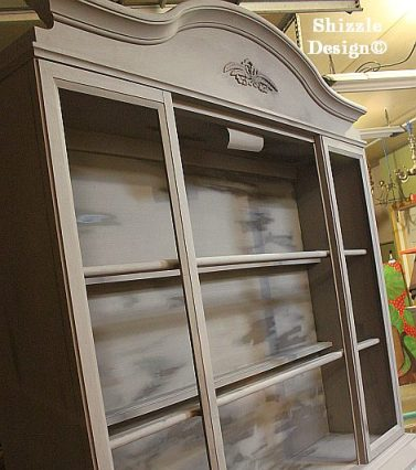 hand painted china cabinet hutch shizzle design grand rapids michigan display american paint company cece caldwell's 1