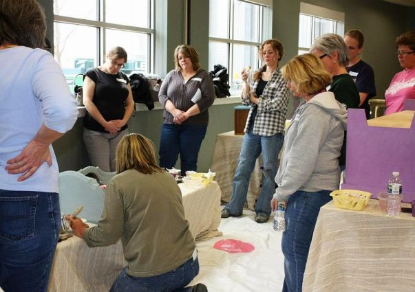 Shizzle Design Furniture Painting Workshop taught at Michigan State University CeCe Caldwell's Chalk Clay Paints ideas colors tables bench end tables tips MSU learn how to 12