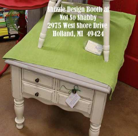 Shizzle Design Painted Furniture 2018 Chicago Drive Jenison Michigan 49428 Christmas Decor little white end table 2