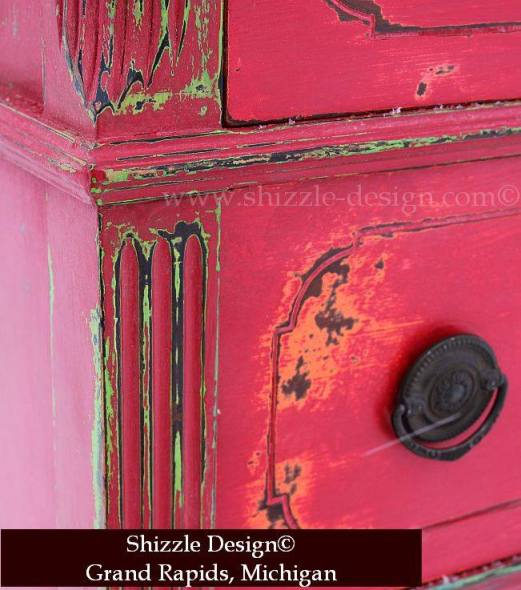 Fireworks Red Shizzle Design Paint Studio American Paint Company highboy blue green red chalk clay dresser best ideas tips layering 6 funky finish