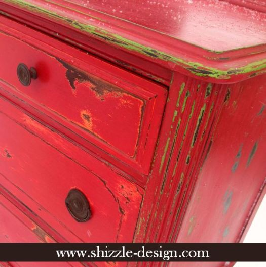 Fireworks Red Shizzle Design Paint Studio American Paint Company highboy blue green red chalk clay dresser best ideas tips layering shabby funky finish 7